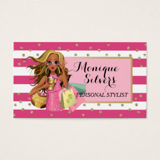 Pink & White/Gold Savvy Shopper Business Card