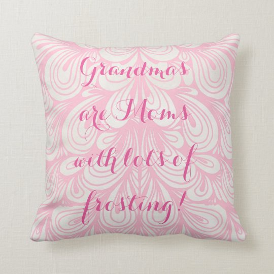 Pink & White Grandma Quote Art Throw Pillow