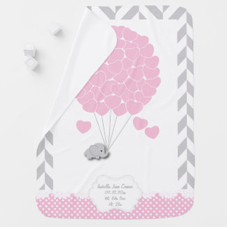 Pink, White Gray Elephant Baby Girl Baby Blanket