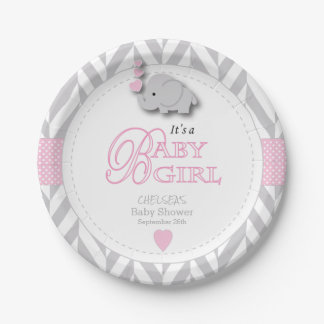 Pink, White Gray Elephant Baby Shower 7 Inch Paper Plate
