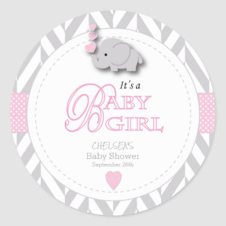 Pink, White Gray Elephant Baby Shower Classic Round Sticker