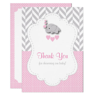 Pink, White Gray Elephant Thank You Card