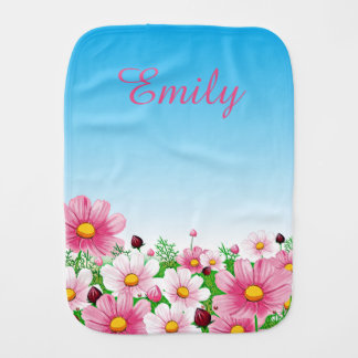 Pink White Green Blue Flower Floral Blossoms Girls Burp Cloth