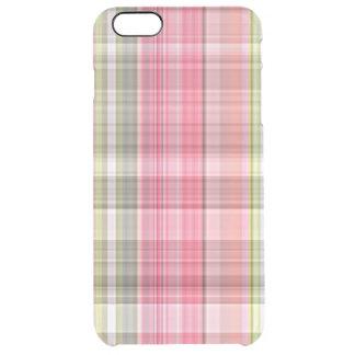 Pink White Green Retro Chic Tartan Plaid Pattern Clear iPhone 6 Plus Case