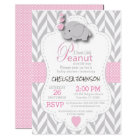 Pink, White Grey Elephant Baby Shower 2 Card