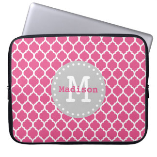 Pink White Grey Moroccan Lattice Monogram Laptop Sleeve