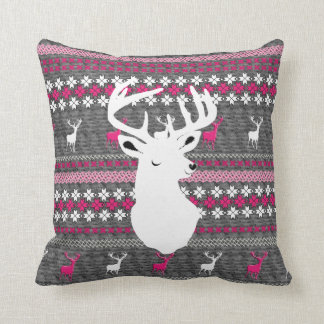 Pink White Grey Stag Deer Trendy Modern Pillows