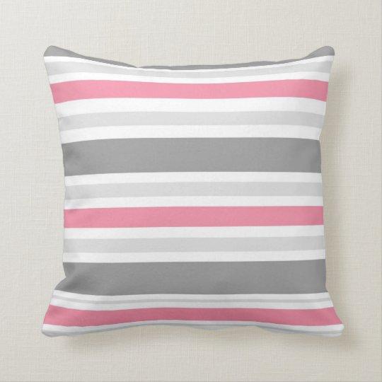 Pink,White.Grey Stripe Throw Pillow