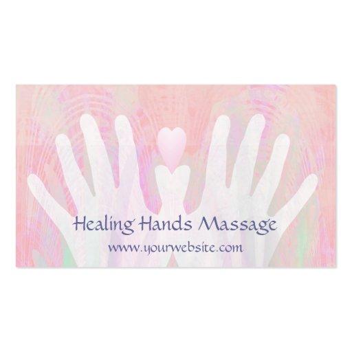 Pink & White Healing Hands Massage Business Card
