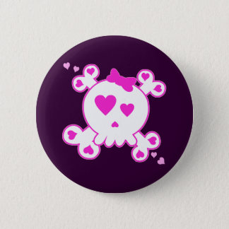 PINK & WHITE HEART SKULL & CROSSBONES 2 INCH ROUND BUTTON