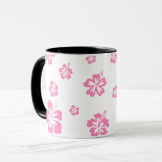 Pink & White Hibiscus Flower Personalized Custom Mug