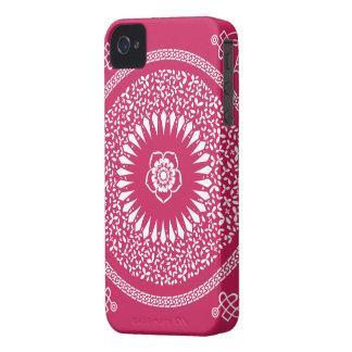 Pink & white Indian Mandala inspired pattern iPhone 4 Case-Mate Case