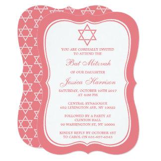 Pink & White Jewish Star Of David Bat Mitzvah Card