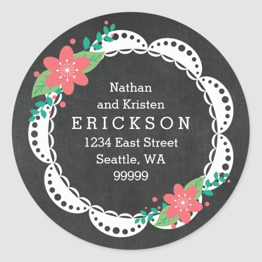 Pink White Lace Chalkboard Address Labels