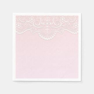 Pink, White Lace, Religious Paper Napkins