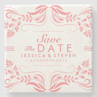 Pink & White Lace Save The Date Sticker 2 Stone Coaster