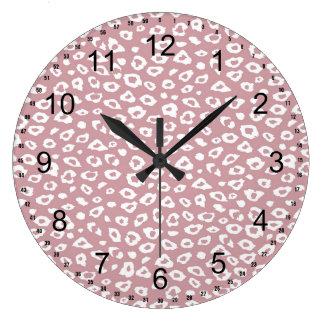 Pink White Leopard Print Clock