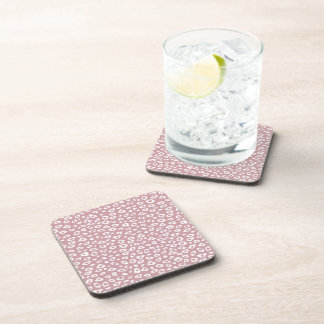 Pink White Leopard Print Beverage Coasters