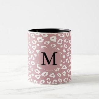 Pink White Leopard Print Monogram Mugs