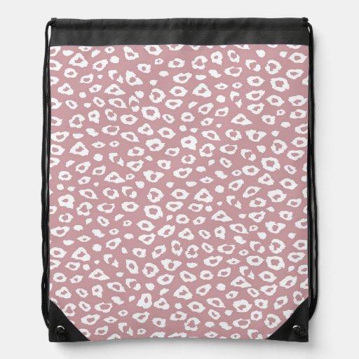 Pink White Leopard Print Drawstring Backpacks