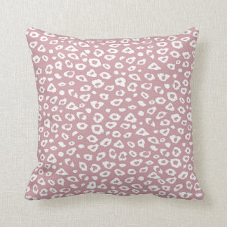 Pink White Leopard Print Throw Pillows