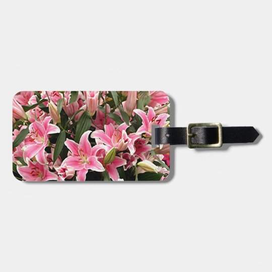 Pink & white liliums luggage tag