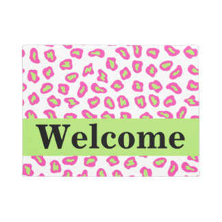 Pink White Lime Green Leopard Skin Welcome Doormat