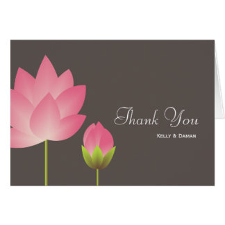 Pink white lotus flower modern gray thank you note card