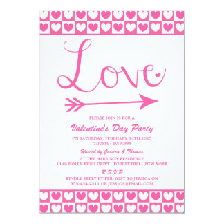 """Pink & White Love Hearts Valentine's Day Party 5"""" X 7"""" Invitation Card"""