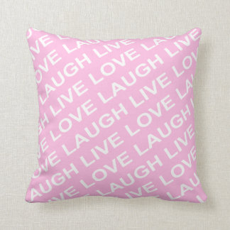 Pink White Love Text Pillow