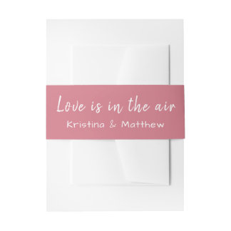 Pink & White Love Wedding Announcement Typography Invitation Belly Band