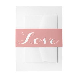 Pink & White Love Wedding Invitation Belly Band