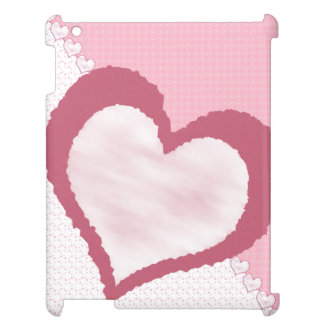 Pink White Mauve multi pattern with hearts iPad Case