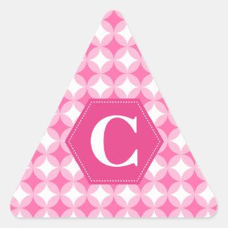 Pink White Monogram Pattern Triangle Sticker
