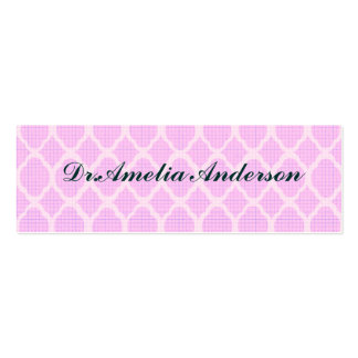 Pink white moroccan girly trendy modern elegant pack of skinny business cards