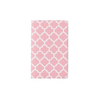 Pink White Moroccan Quatrefoil Pattern #5 Pocket Moleskine Notebook