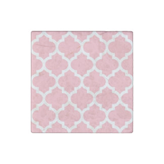 Pink White Moroccan Quatrefoil Pattern #5 Stone Magnets