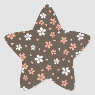 Pink & White Origami Flowers Star Sticker
