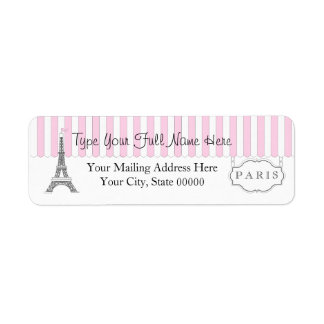 Pink | White Paris Eiffel Tower Name Return Address Label