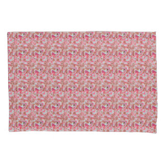 Pink White Pattern Flower Pillow Case