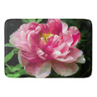 Pink White Peony Watercolor Fine Floral Bath Mat