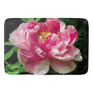 Pink White Peony Watercolor Fine Floral Bathroom Mat