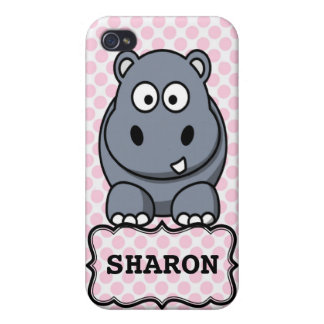 Pink White Personalized Cute Hippo Clipart iPhone 4 Cover