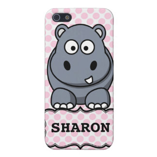 Pink White Personalized Cute Hippo Clipart iPhone 5 Case
