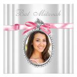 Pink White Photo Bat Mitzvah Personalized Invite