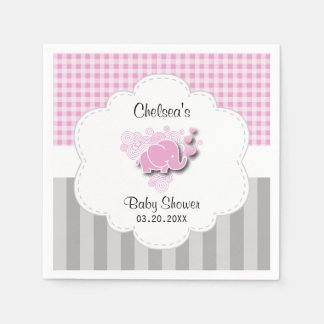 Pink & White Plaid and Gray Stripes Baby Elephant Disposable Napkin