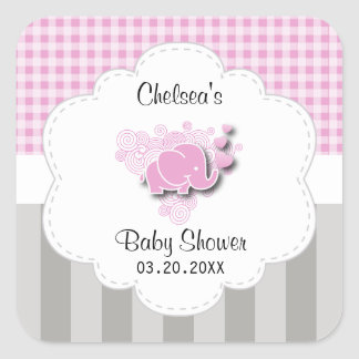 Pink & White Plaid and Gray Stripes Baby Elephant Square Sticker