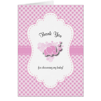 Pink & White Plaid Baby Elephant Card