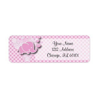 Pink & White Plaid Baby Elephant Return Address Label