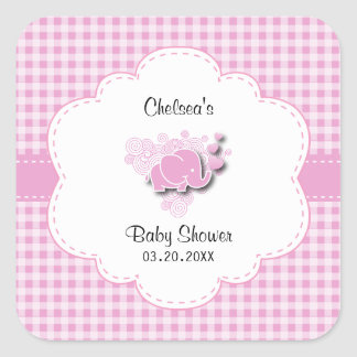 Pink & White Plaid Baby Elephant Square Sticker